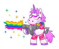 Rainbow soldier unicorn. Military pink unicorn shoots a battle rainbow