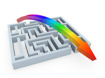 Rainbow solution for puzzle maze Stock Photos