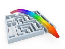 Rainbow solution for puzzle maze. Rainbow arrow solution for puzzle maze on white background Stock Photos