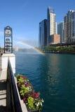 Rainbow sopra il fiume del Chicago Fotografia Stock Libera da Diritti