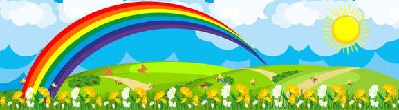 Rainbow sopra il giacimento di fiore illustrazione di stock