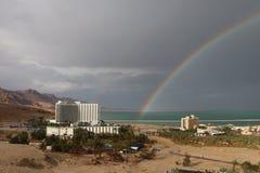 Rainbow sopra il mar Morto Immagini Stock