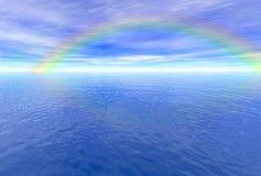 Rainbow sopra il mare Fotografia Stock