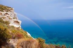 Rainbow sopra il mare Fotografia Stock Libera da Diritti