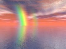 Rainbow sopra il mare Illustrazione Vettoriale