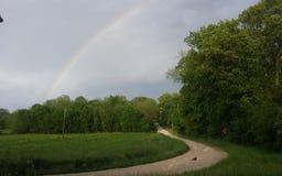 Rainbow sopra la foresta fotografie stock libere da diritti