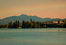 Rainbow sopra Lake Placid Fotografie Stock