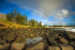 Rainbow sopra le teste del burleigh Fotografia Stock Libera da Diritti