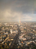 Rainbow on South East london tracks. South east london about to get wet Royalty Free Stock Photo