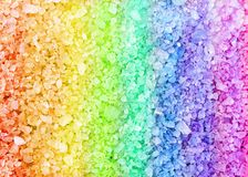 Rainbow spa bath salt crystals background texture Stock Photos