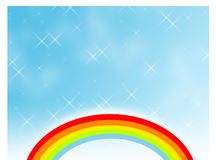 Rainbow in a sparkling sky stock images