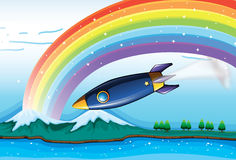 A rainbow with sparkling stars and an aircraft Royalty Free Stock Photo