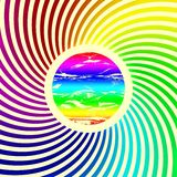 Rainbow spectrum color full sun rays background - swirl dynamic sun Royalty Free Stock Photo
