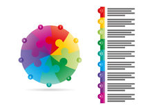Rainbow spectrum colored nine sided arrow puzzle presentation infographic vector graphic template with explanatory text field. Isolated on white background for Stock Photo