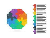 Rainbow spectrum colored puzzle presentation infographic template with explanatory text field isolated on white background Royalty Free Stock Photo