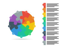 Rainbow spectrum colored puzzle presentation infographic template with explanatory text field isolated on white background Royalty Free Stock Photography
