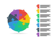 Rainbow spectrum colored puzzle presentation infographic template with explanatory text field isolated on white background Royalty Free Stock Images