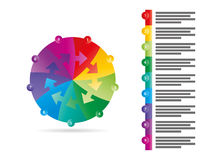 Rainbow spectrum colored puzzle presentation infographic template with explanatory text field isolated on white background. Vector graphic template Royalty Free Stock Photos