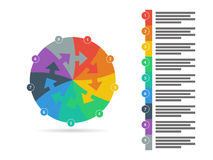 Rainbow spectrum colored puzzle presentation infographic template with explanatory text field isolated on white background Royalty Free Stock Image