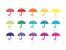 Rainbow spectrum colorful umbrellas. Set of rainbow spectrum colorful umbrellas. Vector graphic template. Isolated on white background Royalty Free Stock Photos