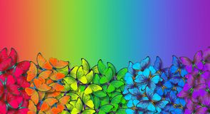 Rainbow spectrum. Colors of rainbow. Pattern of multicolored butterflies morpho texture background. multicolored natural abstract