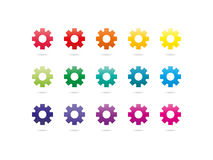 Rainbow spectrum gear icons Stock Photo