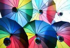 Rainbow spectrum multicolored background of umbrella, bottom vie Stock Photos