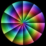 Rainbow spectrum spiral color gradient circle. A circle filled with thin threads having a circular clockwise rainbow spectrum color spiral gradient, giving it a royalty free illustration