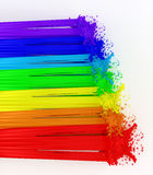 Rainbow and splashes made from paint. Stock Photos