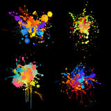 Rainbow splats. Set of four different detailed rainbow-colored ink-splats stock illustration