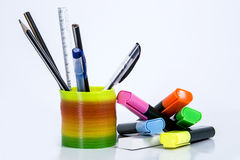 Rainbow  spring. Rainbow spring using as a pen holder Stock Photo