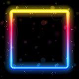 Rainbow Square Border With Sparkles Stock Photo
