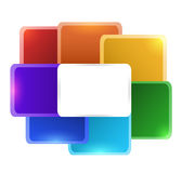 Rainbow square flower for infographics Royalty Free Stock Photos
