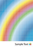 Rainbow squares background. Vector illustration of a colorful rainbow with squared patterns and sample logo at the bottom Stock Photos