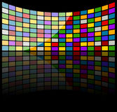 Rainbow squares on 3d rectangular panel with black background Stock Photography