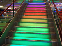 Rainbow stairs. Stairs with colorful lighting Royalty Free Stock Images