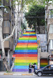 Rainbow stairs in Istanbul, April 2014 Royalty Free Stock Image