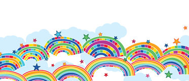 Rainbow star colorful banner Stock Image