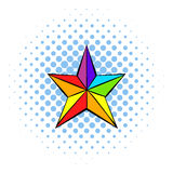 Rainbow star icon, comics style Royalty Free Stock Photos