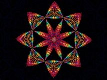 Rainbow Star Kaleidoscope. Rainbow Coloured Star Shaped Kaleidoscope Fractal Stock Photo
