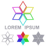 Rainbow star logo vector design set Stock Image