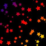 Rainbow Stars. Black background with stars with the shades of the rainbow in them Royalty Free Stock Photography