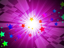 Rainbow Stars Background Means Astronomy And Light Beams Stock Image