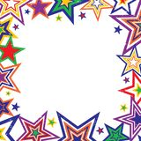 Rainbow Stars Border Vector. Illustration of bright rainbow colored stars border on white background with space for text Stock Image