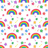 Rainbow and stars Doodle seamless pattern. Royalty Free Stock Image