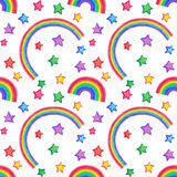 Rainbow and stars Doodle seamless pattern. Stock Photography