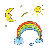 Rainbow, Stars, Sun and Moon Stock Image