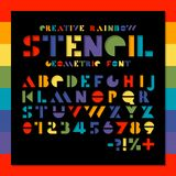 Rainbow stencil geometric font. Color paper cut alphabet. Colorful hole letters and numbers sans serif. Creative design.  stock illustration