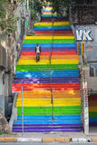 Rainbow steps in bohemian neighborhood Royalty Free Stock Images