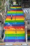Rainbow steps in bohemian neighborhood Royalty Free Stock Images